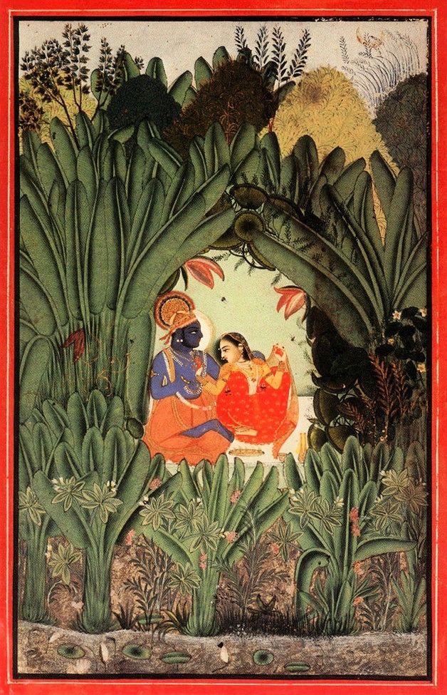 Krishna and Radha in a grove.  c.1750, Bundi or Kotah.  http://navinkumar.com/book/big/121.jpg