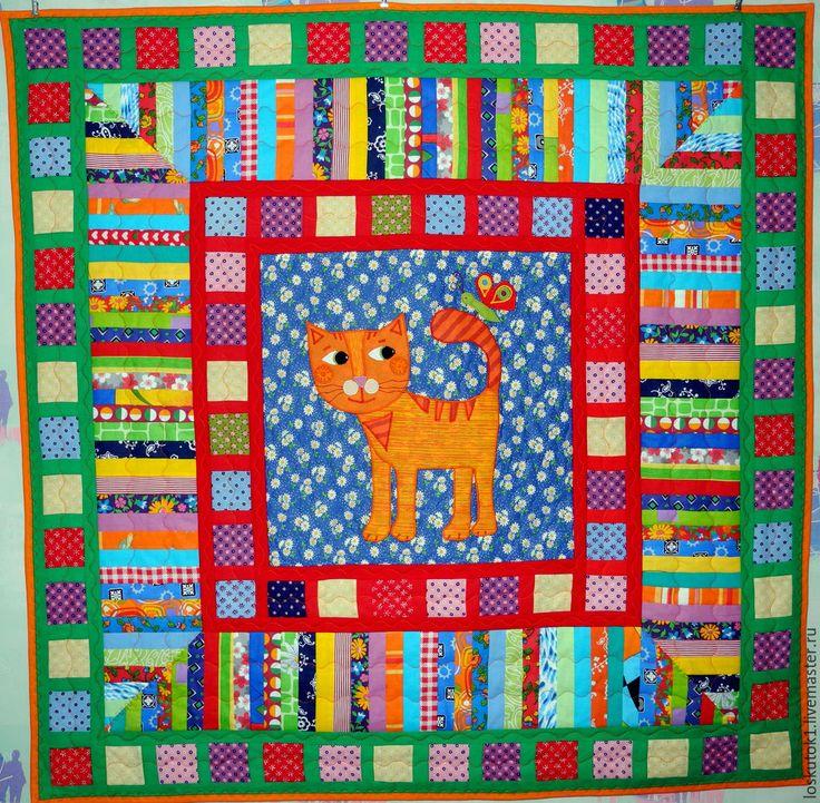 Купить детское лоскутное одеяло МОЙ РЫЖИЙ КОТЯ лоскутное одеяло детское