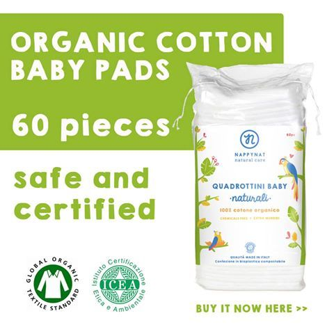 Baby pads in organic cotton.  The ideal pads for your baby's daily intimate care.  They are#Chemicalfree #biodegradableand dermatologically tested!