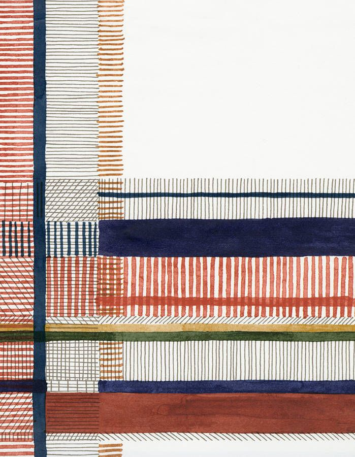 "A wallpaper like a watercolor. Crossing lines and colors, a detail of wallpaper ""Nigel's Tartan,"" designed by artist Nigel Peake."