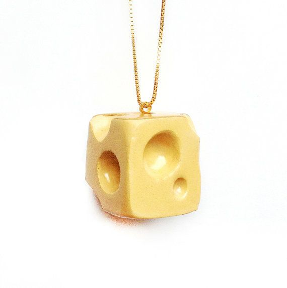 Scented Statement Jewelry  Cheese with Gold Glaze by TADAMdesign, €132.00