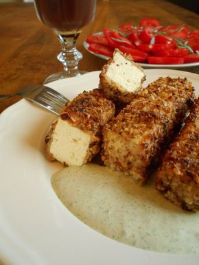 Tofu en croûte de noisettes et crème à l'estragon