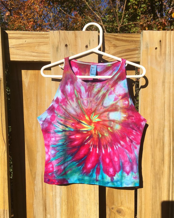 Tie Dye Shirt Crop Top Tank Top Beach Hot Yoga Pole Dance Hoop Love Rainbow Trippy Psychedelic TieDye RighteousDyes Hippie Hippy Festival Spiral Shirt Womens Clothing For Sale Size Small Custom Made to Order Mermaid