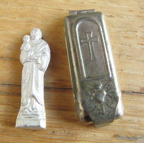 Vintage Pocket heiligdom St. Joseph religieuze pictogram heilig hart zaak Tsjecho-Slowakije