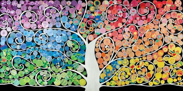 Every child in the school used an allocated colour to draw three images or patterns. Staff and parents constructed 'The Tree of Life' using these drawings. The colours depicted the ever-changing colour spectrum of our lives.