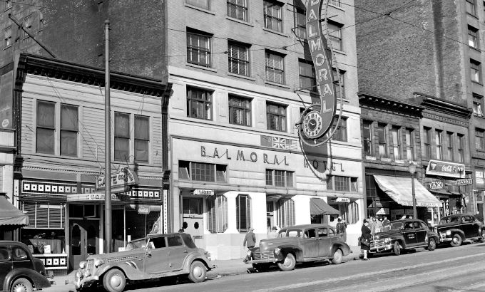 The Balmoral Hotel, Vancouver, BC Canada in the 1940s.