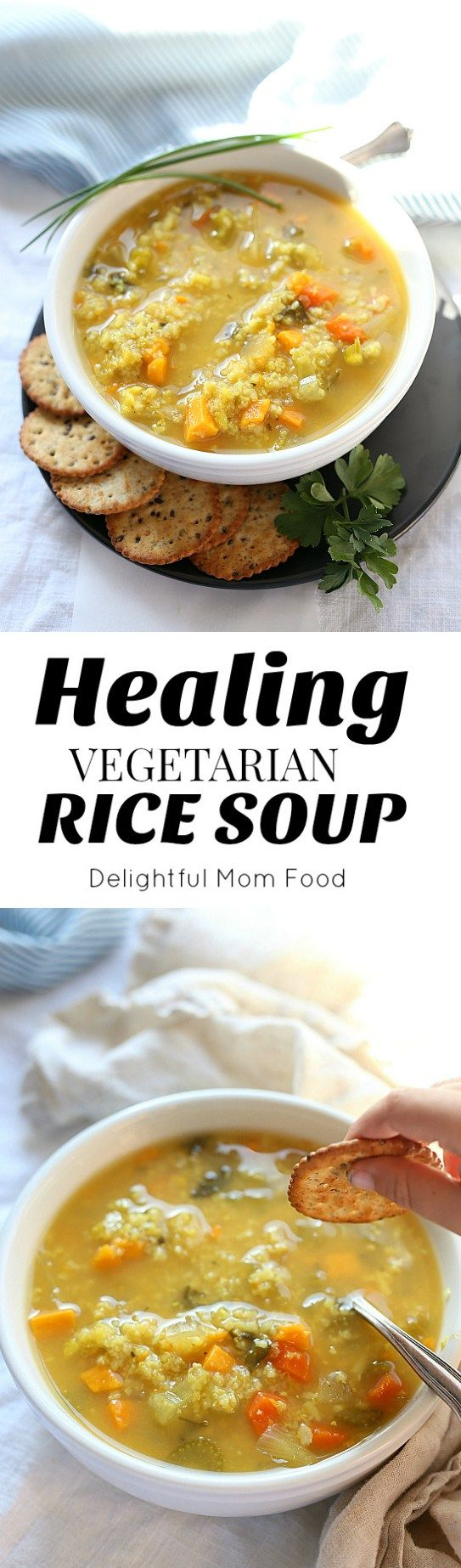 This hearty vegetarian crock pot rice soup recipe is theperfect food-for-your-soul! Made with vegetable broth or if you are not a vegetarianadd chicken for added protein! Delightful Mom Food #rice #soup #recipe #slowcooker #easy #healthy #vegetarian #vegetable