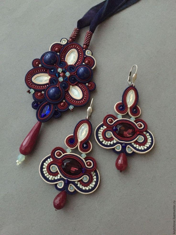 Купить набор украшений из сутажа в бордово-синей гамме - комбинированный, сутаж, кулон