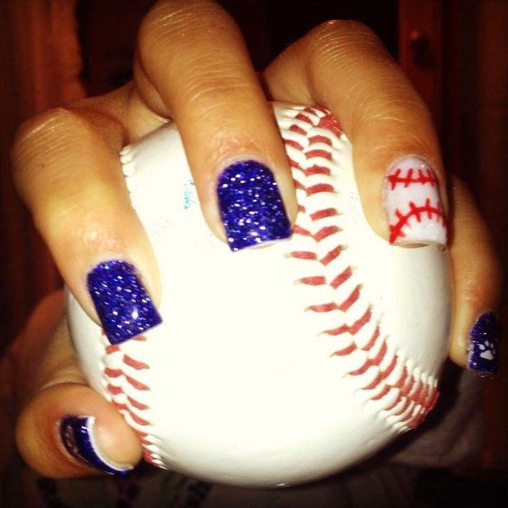 Summer nails <3 Baseball is Summer and so are these cute designs
