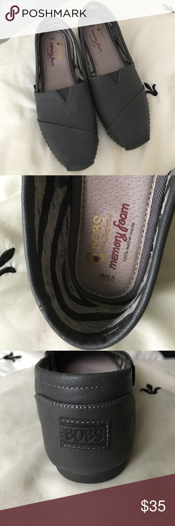 Shoes Bobs flat slide on shoes. Wore once. Gray, leather with memory foam. 6.5 (w). Excellent condition. Paid 55.00 originally. bobs Shoes Flats & Loafers