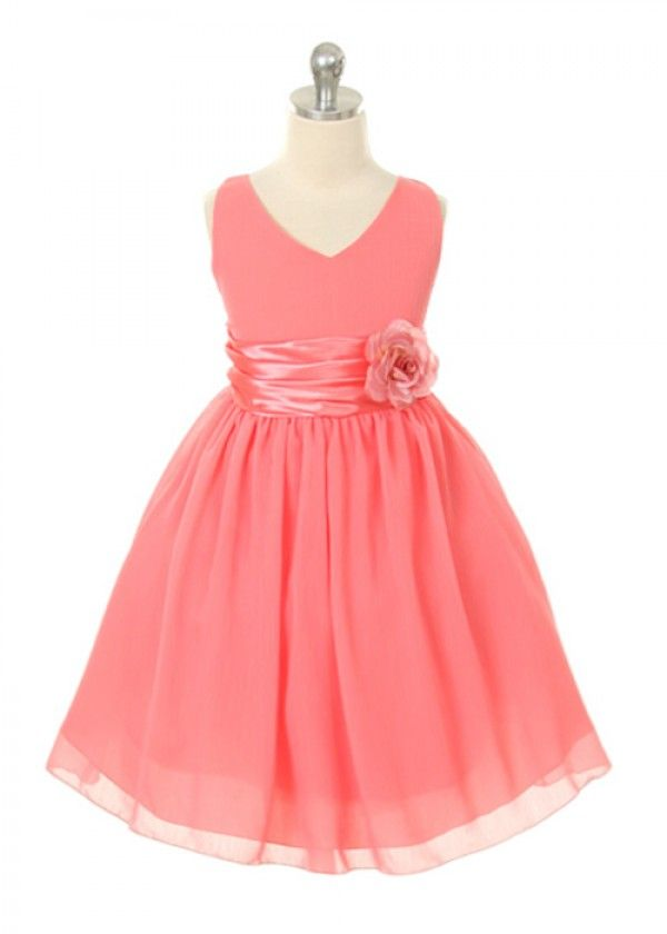 cute flower girl dress in coral. link also has other great ideas for coral wedding