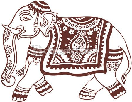 desenho de elefante indiano doméstica — Vetor de Stock © Elfwilde #2405751