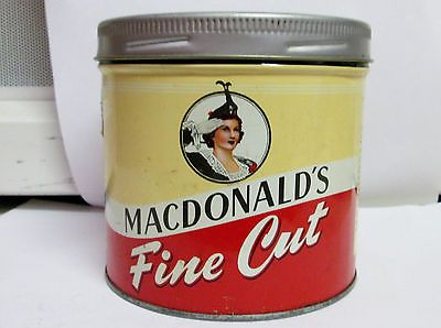 MACDONALD'S FINE CUT TOBACCO CAN CANISTER TIN OLD W C MACDONALD'S INC MONTREAL