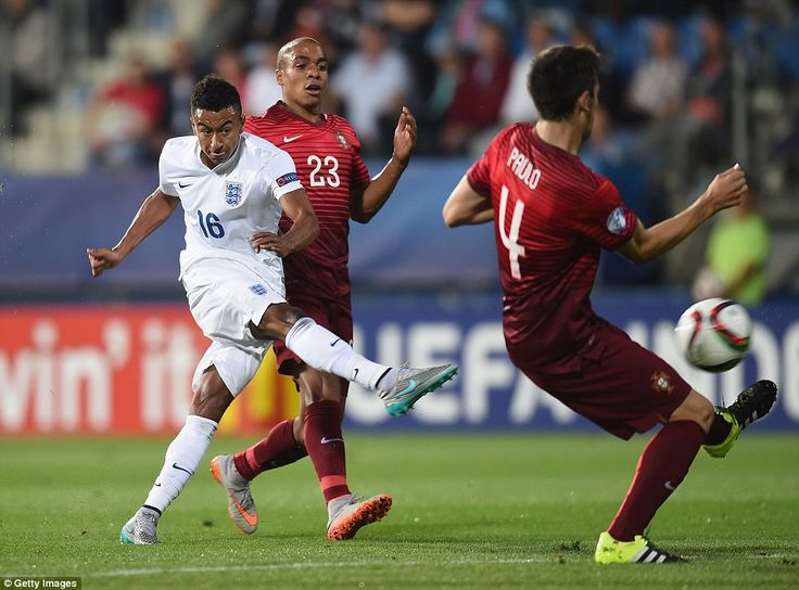 Jesse Lingard Of England Shoots At Goal Against Portugal