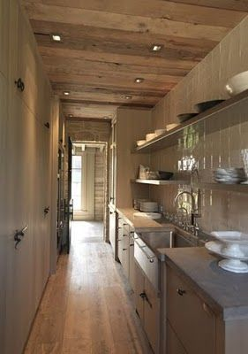 butler's pantry-note different textures, wood, shiny tile splashback,stone countertop, grey green paint