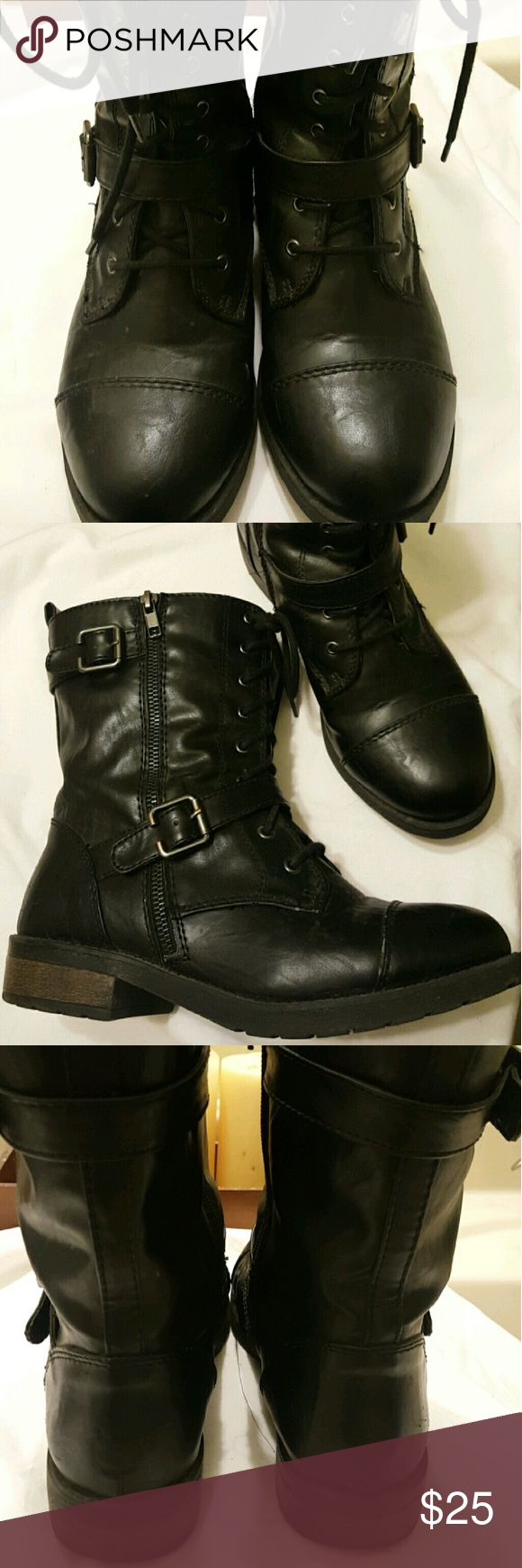 Women's combat boots Used only once, too big for me white Mountain  Shoes Combat & Moto Boots
