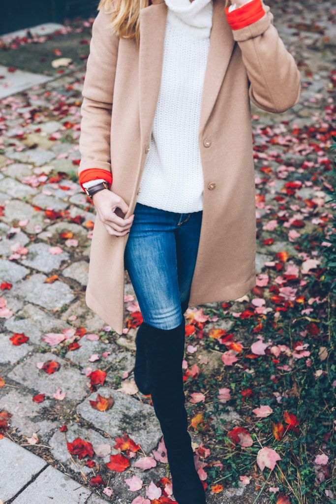 Camel Coat and Over the Knee Boots