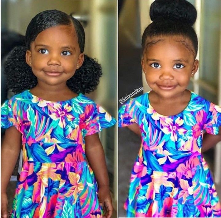 Two Low Puffs Or The Bun Boffum Beautifulblackkids Her Instagram Is Knaomi S Her Mom S I Natural Hair Styles Little Girl Hairstyles Kids Hairstyles