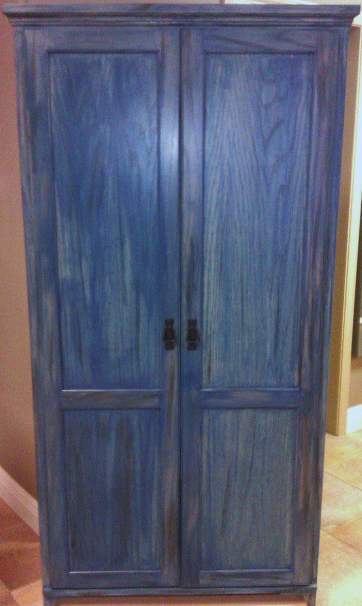 Blue And Black Distressed Cabinet For Client My Work