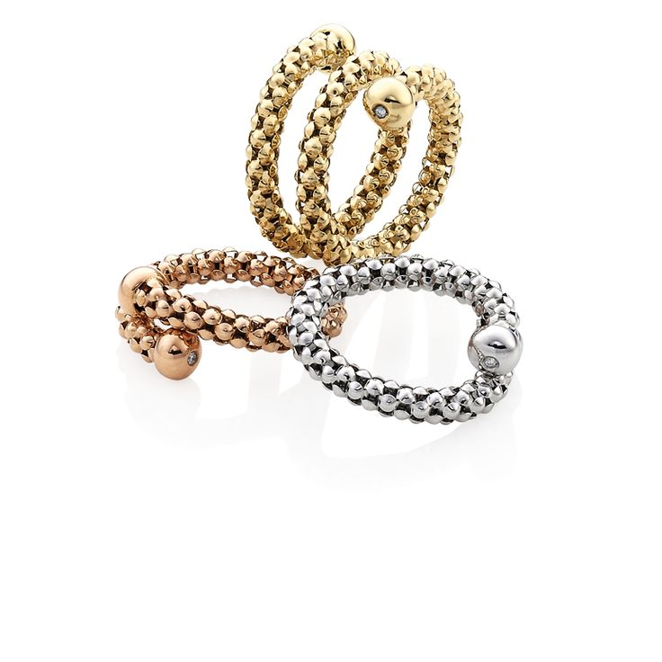CHIMENTO Stretch Review yellow, white and rose gold rings.