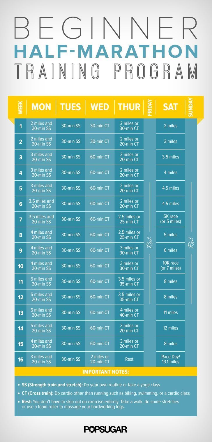 Training for your first half marathon? Awesome! Print out this 16-week training schedule. #correres #deporte #sport #fitness #running