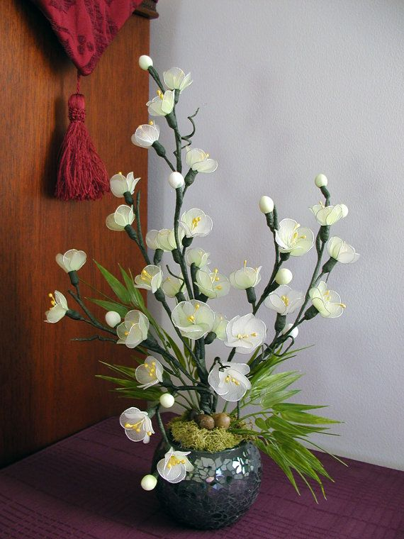 Handmade Colorful Cherry Blossom Arrangement by LiYunFlora on Etsy, $35.00