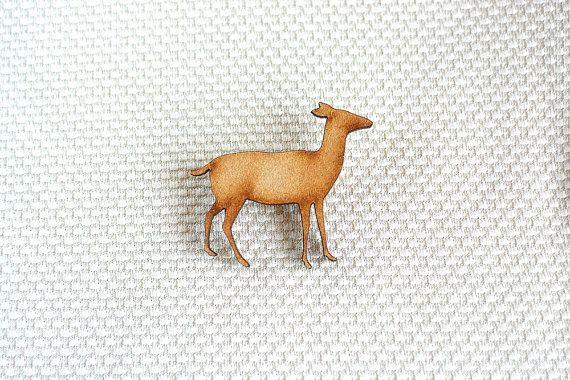 Wooden Deer Brooch by ShopSparkleMotion on Etsy. A delightful natural wooden deer brooch with beautiful darkened edges.  https://www.etsy.com/uk/listing/218362511/wooden-deer-brooch-woodland-animal?ref=shop_home_active_6