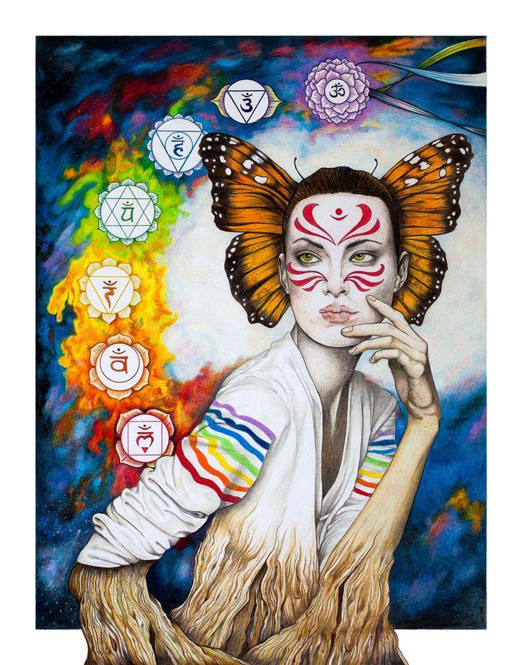 Chakras Queen. Colored Pencils art. Raztine artwork.