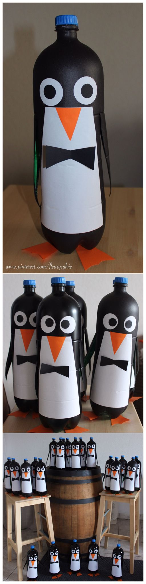 Pingouins rigolos avec bouteilles PET 2L. Extrait d'une déco de vitrine. http://pinterest.com/fleurysylvie/mes-creas-deriendutout/
