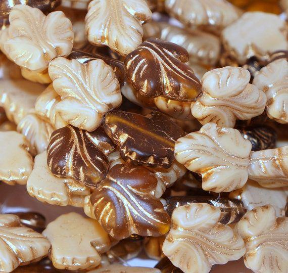 Czech Glass Beads Brown Leaf Matte Bronze Beige Cream Original Exclusive Authentic 16x14mm 4Pc  #beads #czechbeads #czechoriginalbeads #czechauthenticbead #czechglassbeads #glassbeads #picasso #picassobeads #czechbeadspicasso #etsy