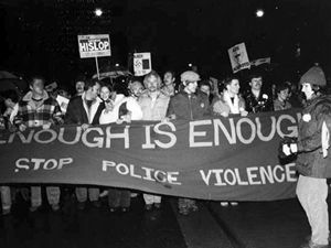 Tim McCaskell recounts the demonstrations at 52 Division to protest the violence and homophobia expressed by police at the 1981 Toronto bathhouse raids. The crowds demanded police accountability to gay and other minority communities facing police harassment.