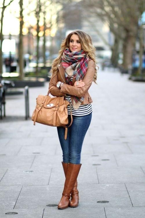 striped tee with tan jacket, How to layer in winter http://www.justtrendygirls.com/how-to-layer-in-winter/