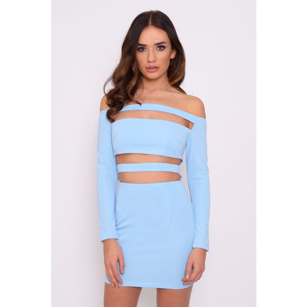 Rare Cornflower Blue Long Sleeve Cut Out Mini Dress (460 ZAR) ❤ liked on Polyvore featuring dresses, short blue dresses, cutout dresses, cut-out dresses, long-sleeve cut-out dresses and short dresses