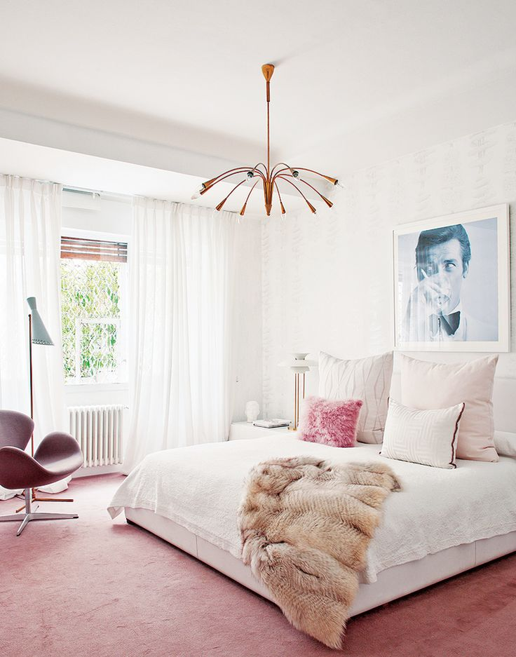 Inside a Groovy Pad Fit for a Queen// glamorous bedroom, feminine bedroom, midcentury modern lighting, black and white photography: Feminine Bedrooms, New Style, Living Pink, Fur Throw, Pink Carpets, Bedrooms Design, Miriam Alia, Master Bedrooms, Pink Bedrooms