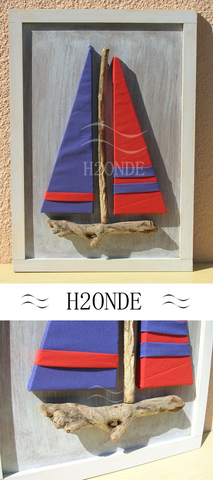 Driftwood framed sailboat wall art decor modern 3d beach original wood coastal shabby ocean hanging cottage office gift decoration nautical home decor painting living house cottage Quadro barca vela legno mare decorazione parete muro shabby arredo sala ingresso studio camera arredamento cucina ufficio marino nautico H2Onde made in Italy #homedecor #wallart
