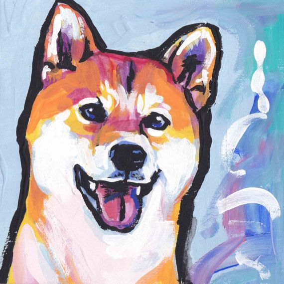 shiba inu dog portrait art print of modern pop art dog