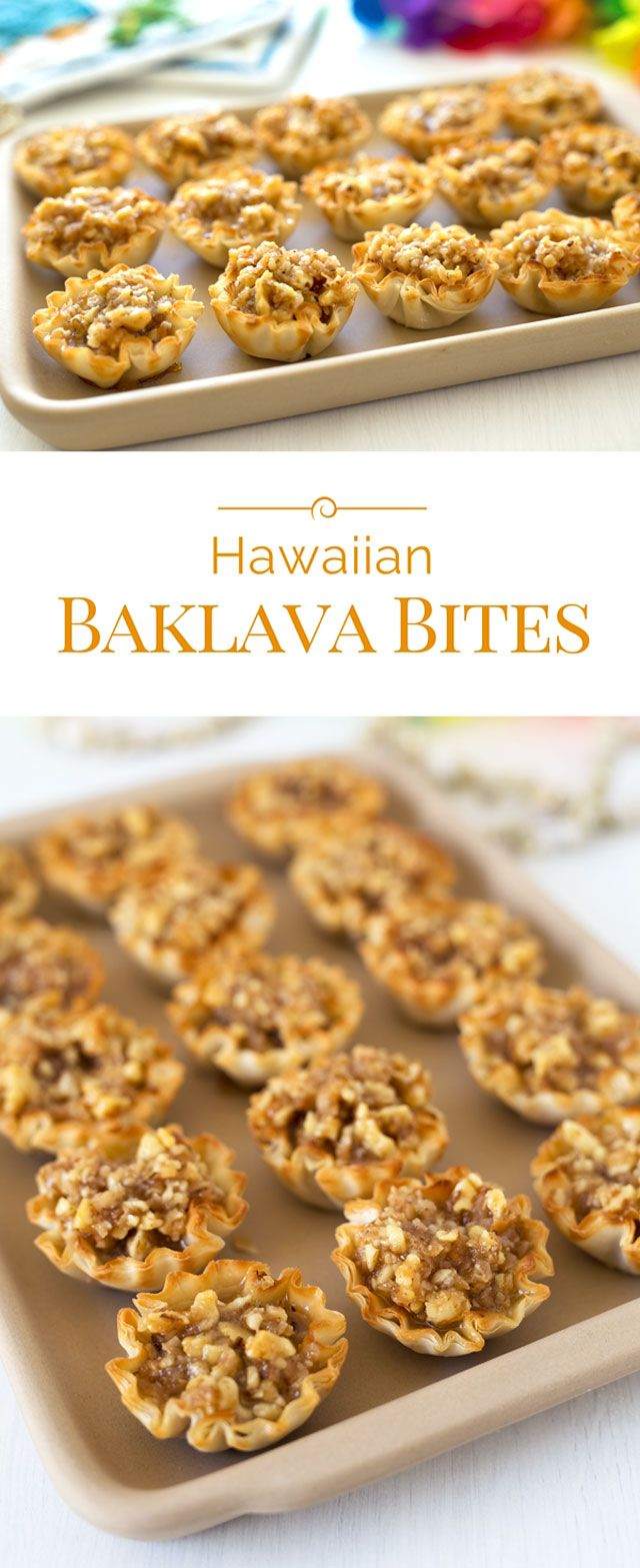 These Hawaiian Baklava Bites are baklava in easy-to-make, easy-to-eat, crispy mini phyllo shells with a fun Hawaiian twist.