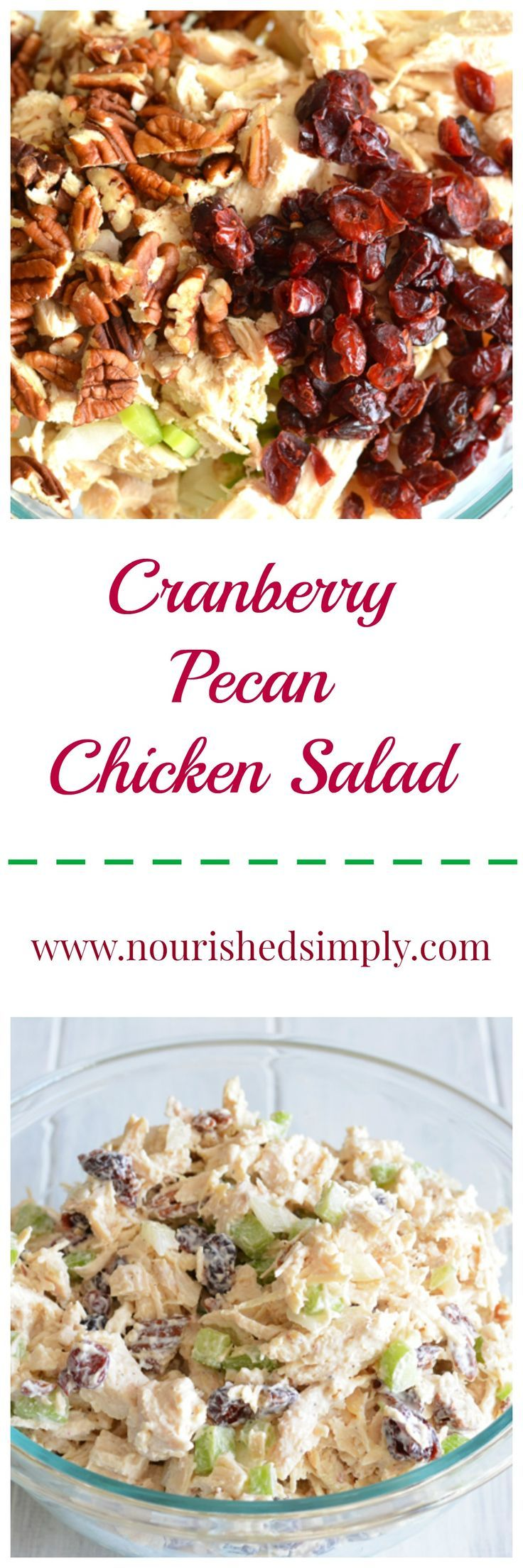 Do you need a recipe for a holiday lunch time celebration?  This festive cranberry pecan chicken salad has the flavors and colors of the season.  Plus it is a simple recipe.