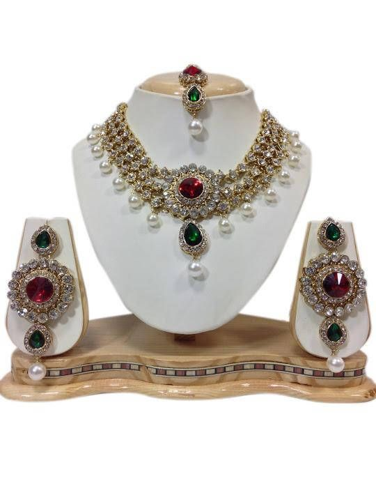 Ethnic Red & Green Stone Party Wear White Pearl Bright Kundan