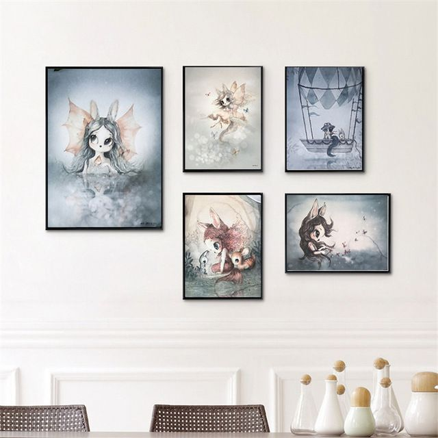 Living Room Home Decor Poster Print Nordic Canvas Painting Girl Bedoom Wall Picture Deer Rabbit Angle Wing An Kids Room Wall Decor Modern Nursery Art Wall Kids