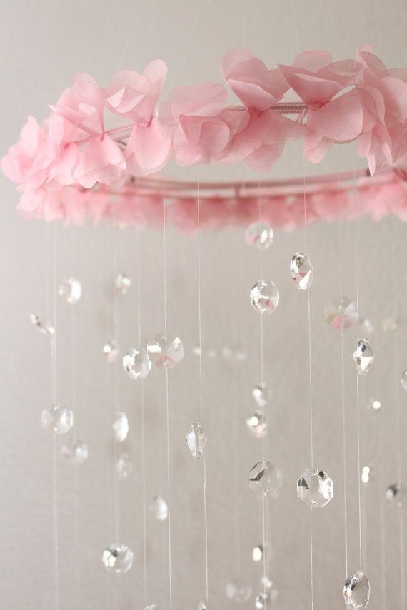 Crystal Baby Mobile Pink Baby Mobile - I need to make this for Kaylee!