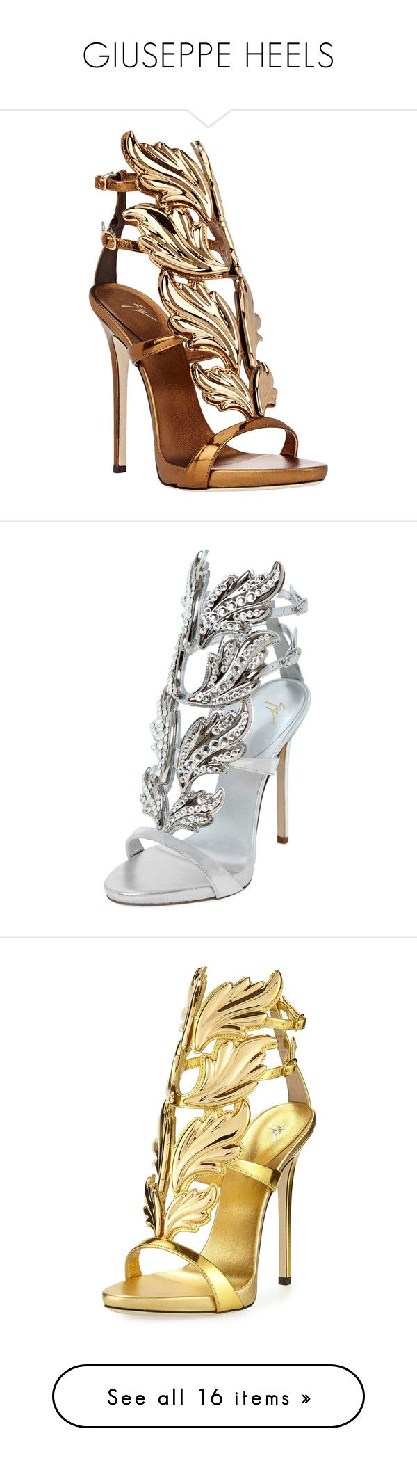"""""""GIUSEPPE HEELS"""" by saucinonyou999 ❤ liked on Polyvore featuring shoes, sandals, heels, giuseppe zanotti, gold, colorless, leather sandals, platform heel sandals, ankle strap sandals and leather sole shoes"""
