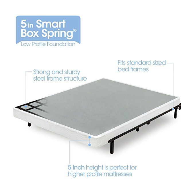 Amazon Com Zinus 5 Inch Low Profile Smart Box Spring Mattress Foundation Strong Steel Structure Easy Assembly Smart Box Mattress Box Springs Box Spring