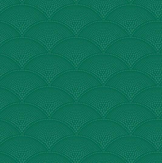 Feather Fan Wallpaper A soft geometric fan pattern, enlarged from the original design, in two tone green