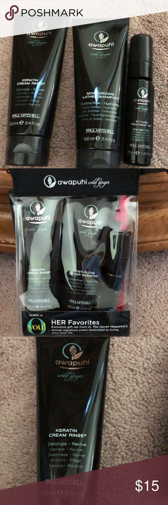Paul Mitchell Awapuhi Hair product kit New sealed in package. Paul Mitchell Awapuhi Hair product kit. Included is 3.4 oz keratin creme rinse, 3.4 oz moisturizing shampoo and .85 oz styling treatment oil. Comes in clear zipper pouch. Makes a great gift! Paul Mitchell Makeup