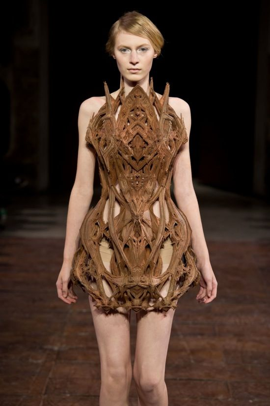 3D printed wooden cathedral dress.