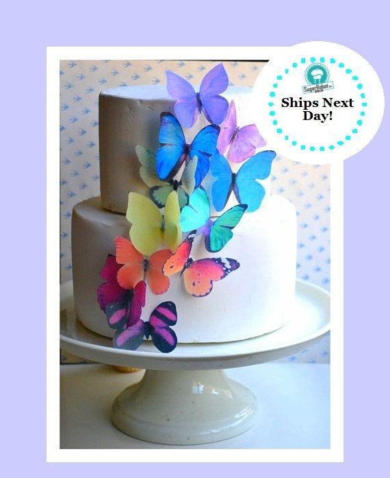 The Original EDIBLE BUTTERFLIES - Large Rainbow Assortment - Cake & Cupcake Toppers - Edible Cake Decorations on Etsy, $8.95