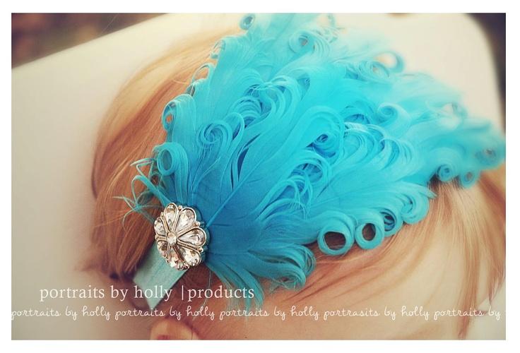 baby girls feather pad headband aqua blue fold over elastic rhinestone: Baby Girls Haircuts