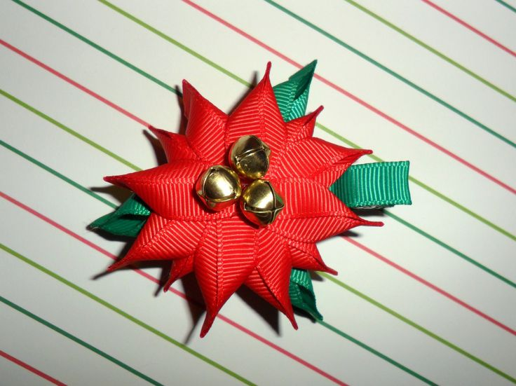 POINSETTIA Ribbon Sculpture Christmas Holiday Hair Clip Bow DIY Free Tutorial by Lacey