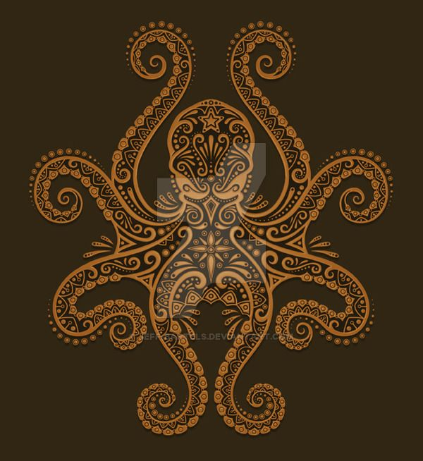 A brown octopus design done primarily in photoshop that is available on shirts and ipad/iphone cases